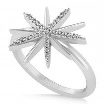 Diamond Accented Starburst Fashion Ring 14k White Gold (0.13ct)