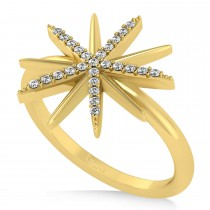 Diamond Accented Starburst Fashion Ring 14k Yellow Gold (0.13ct)