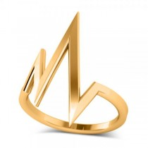 Heartbeat Pulse Vital Sign Fashion Ring Plain Metal 14k Yellow Gold