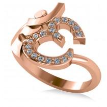 Ohm Sign Diamond Fashion Ring 14k Rose Gold (0.19ct)