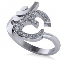 Ohm Sign Diamond Fashion Ring 14k White Gold (0.19ct)