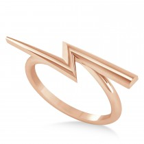 Lightening Bolt Bar Fashion Ring 14K Rose Gold