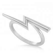 Lightening Bolt Bar Fashion Ring 14K White Gold