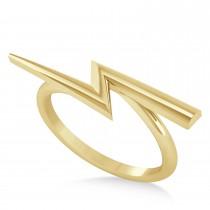 Lightening Bolt Bar Fashion Ring 14K Yellow Gold
