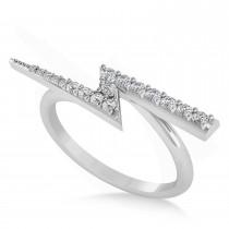 Diamond Lightening Bolt Fashion Ring 14K White Gold (0.25ct)