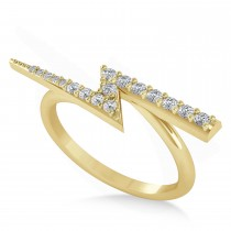 Diamond Lightening Bolt Fashion Ring 14K Yellow Gold (0.25ct)