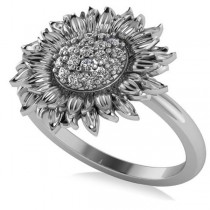 Diamond Sunflower Fashion Ring 14k White Gold (0.19ct)