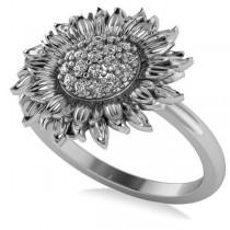 Diamond Sunflower Fashion Ring 14k White Gold (0.19ct)