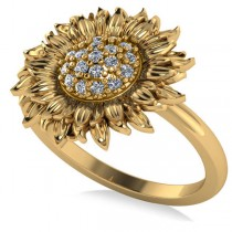 Diamond Sunflower Fashion Ring 14k Yellow Gold (0.19ct)