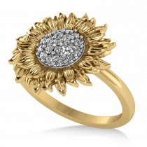 Diamond Sunflower Fashion Ring 14k Two-Tone Gold (0.19ct)