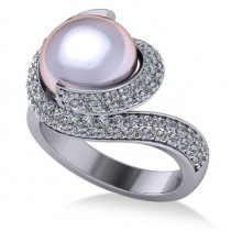 Pearl & Diamond Swirl Engagement Ring 14k White Gold 10mm (0.96ct)