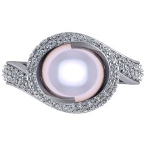 Pearl & Diamond Swirl Engagement Ring 14k White Gold 10mm (0.96ct)