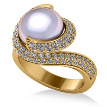 Pearl & Diamond Swirl Engagement Ring 14k Yellow Gold 10mm (0.96ct)