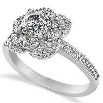 Diamond Flower Style Engagement Ring in 14k White Gold (1.27ct)