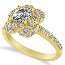 Diamond Flower Style Engagement Ring in 14k Yellow Gold (1.27ct)