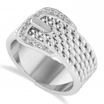 Diamond Belt Buckle Ring 14k White Gold (0.15 ct)