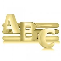 Capital Initial Ring Stackable Plain Metal 14k Yellow Gold