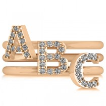 Diamond Capital Initial Ring Stackable 14k Rose Gold (0.10ct)