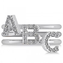 Diamond Capital Initial Ring Stackable 14k White Gold (0.10ct)