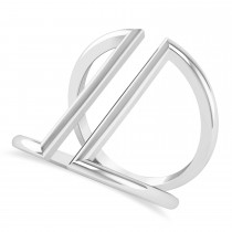 Abstract Double Bar Fashion Ring 14K White Gold
