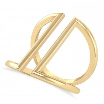 Abstract Double Bar Fashion Ring 14K Yellow Gold