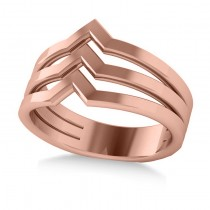 Triple Row Chevron Ladies Fashion Ring Plain Metal 14k Rose Gold