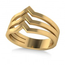 Triple Row Chevron Ladies Fashion Ring Plain Metal 14k Yellow Gold
