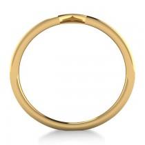 Triple Row Chevron Ladies Fashion Ring Plain Metal 14k Yellow Gold
