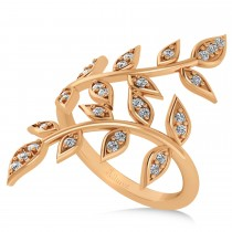 Diamond Olive Leaf Vine Fashion Ring 14k Rose Gold (0.28ct)