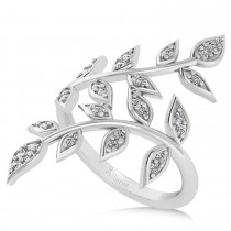 Diamond Olive Leaf Vine Fashion Ring 14k White Gold (0.28ct)