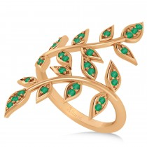 Emerald Olive Leaf Vine Fashion Ring 14k Rose Gold (0.28ct)