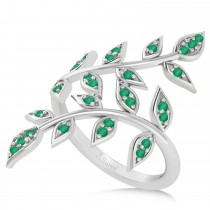 Emerald Olive Leaf Vine Fashion Ring 14k White Gold (0.28ct)