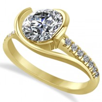 Diamond Twisted Engagement Ring in 14k Yellow Gold (1.71ct)
