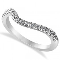 Diamond Semi Eternity Contoured Wedding Band in 14k White Gold (0.29ct)