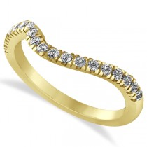 Diamond Semi Eternity Contoured Wedding Band in 14k Yellow Gold (0.29ct)