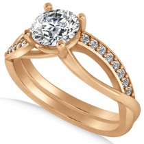 Diamond Accented Bypass Engagement Ring in 14k Rose Gold (1.16ct)
