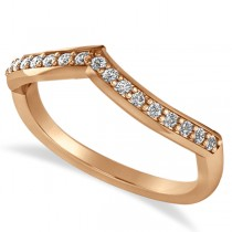 Diamond Accented Contoured Wedding Band in 14k Rose Gold (0.19ct)