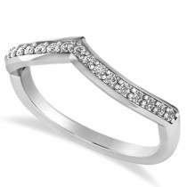 Diamond Accented Contoured Wedding Band in 14k White Gold (0.19ct)