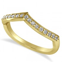Diamond Accented Contoured Wedding Band in 14k Yellow Gold (0.19ct)