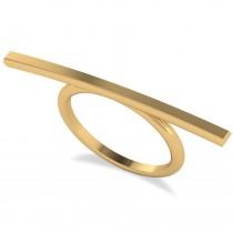 Horizontal Solitaire Bar Ring 14k Yellow Gold