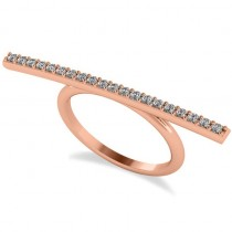 Horizontal Bar Ring with Diamond Accents 14k Rose Gold (0.30ct)