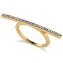 Horizontal Bar Ring with Diamond Accents 14k Yellow Gold (0.30ct)