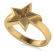 Three Dimensional Star Fashion Ring 14k Yellow Gold