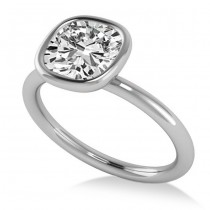Cushion Cut Diamond Solitaire Engagement Ring 14k White Gold (1.40ct)