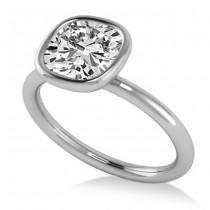 Cushion Cut Diamond Solitaire Fashion Ring 14k White Gold (1.40ct)