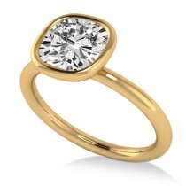 Cushion Cut Diamond Solitaire Engagement Ring 14k Yellow Gold (1.40ct)