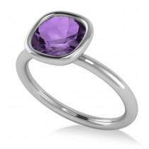 Cushion Cut Amethyst Solitaire Engagement Ring 14k White Gold (1.90ct)