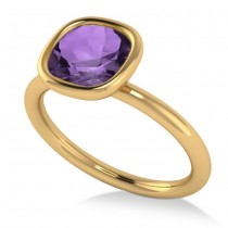 Cushion Cut Amethyst Solitaire Engagement Ring 14k Yellow Gold (1.90ct)