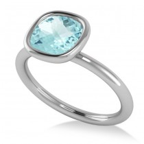 Cushion Cut Aquamarine Solitaire Fashion Ring 14k White Gold (1.90ct)