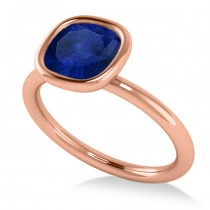 Cushion Cut Blue Sapphire Solitaire Engagement Ring 14k Rose Gold (1.90ct)